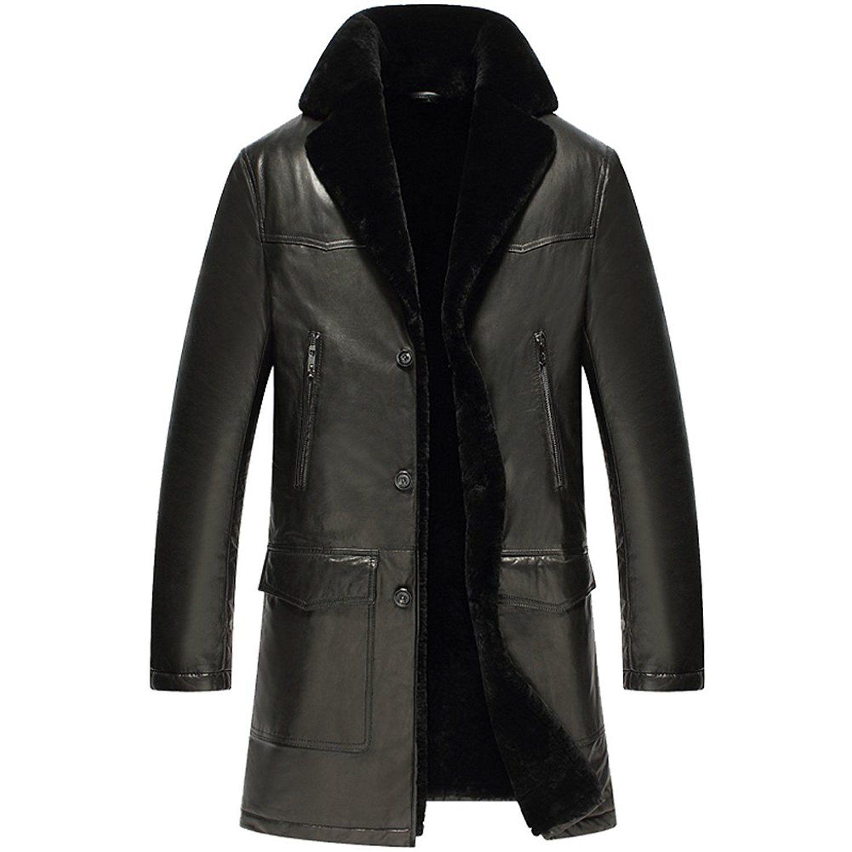 CWMALLS® Primeday New York Men Shearling Trench Coat