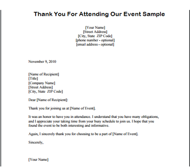 Thank You Letter For Participation Client Sample Event  Home