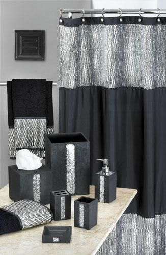 Vegas style bathroom caprice black shower curtain w for Sequin bathroom sets