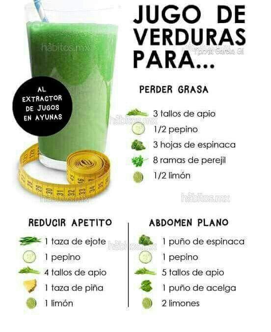 Licuado verde de verduras para bajar de peso