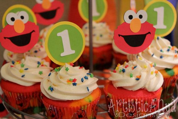 Elmo Sesame Street Birthday Cupcake Toppers Set of 12 1st Birthday