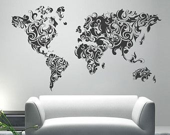 World map outlines wall decal continents par homeartstickers aa worldmap tribal decal large world map vinyl wall sticker world map wall sticker also available as poster gumiabroncs Gallery