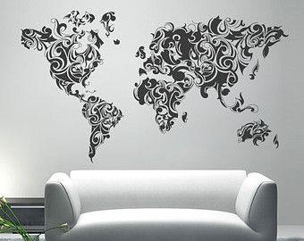 Monde Carte Aquarelle Aquarelle Carte Mur Autocollant