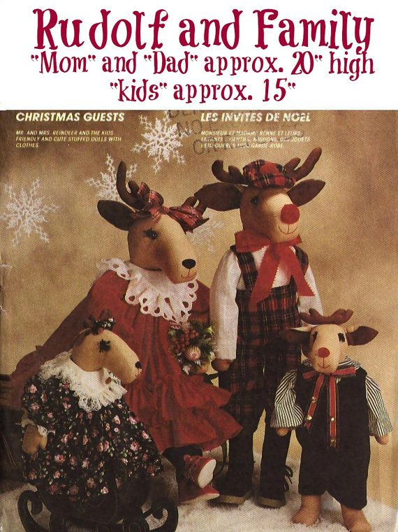 Vintage Rudolf And Family Holiday Sewing Pattern 1989 Mccalls 4532