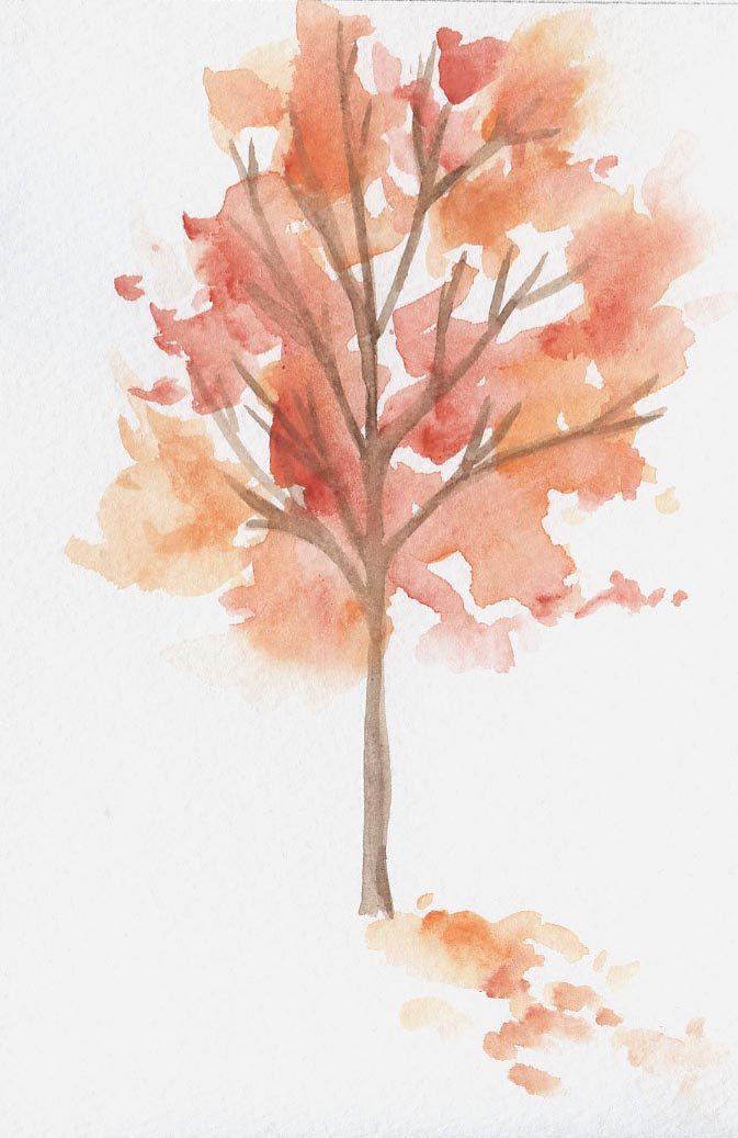 Fall Tree Original Watercolor 5x7 20 00 Via Etsy Fall