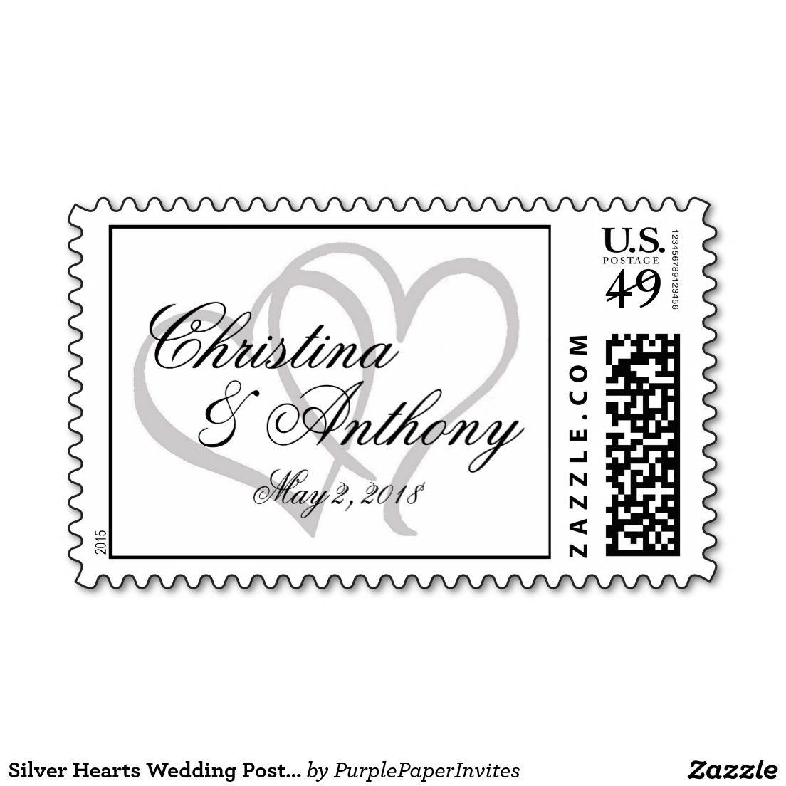 Silver Hearts Wedding Postage Stamps Custom   Wedding Invitations ...