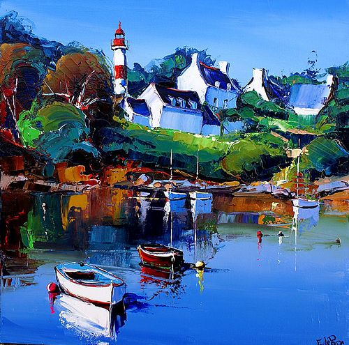 Eric le pape artiste peintre de bretagne peintures de bretagne c te bretonne port de p che - Port de peche cote d armor ...