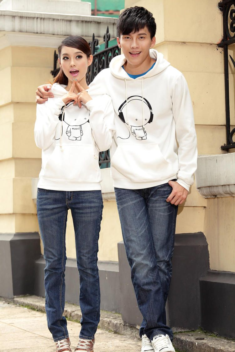 Printed Couple Hooded Pullover - Porspor  YESSTYLE  Hooded