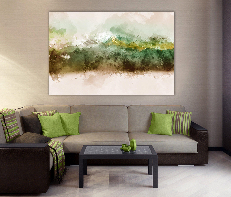 Watercolor Mountain Canvas Abstract Mountain Wall Art