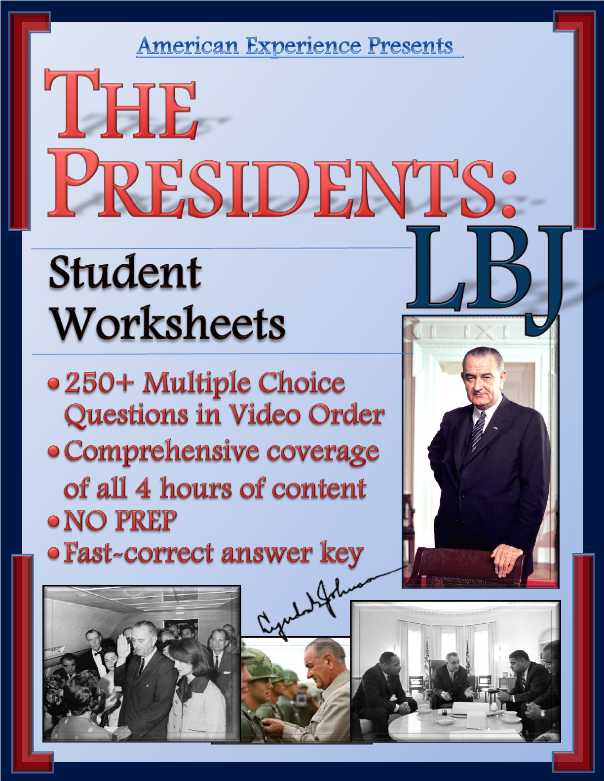 American Experience LBJ Worksheets Help Students Master the 1960s! More  than 250 Multiple Choice Questions…   Social studies lesson [ 1584 x 1224 Pixel ]