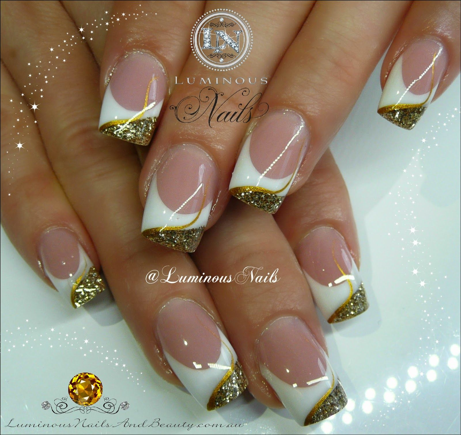 white & gold acrylic nails sculptured acrylic with young nails