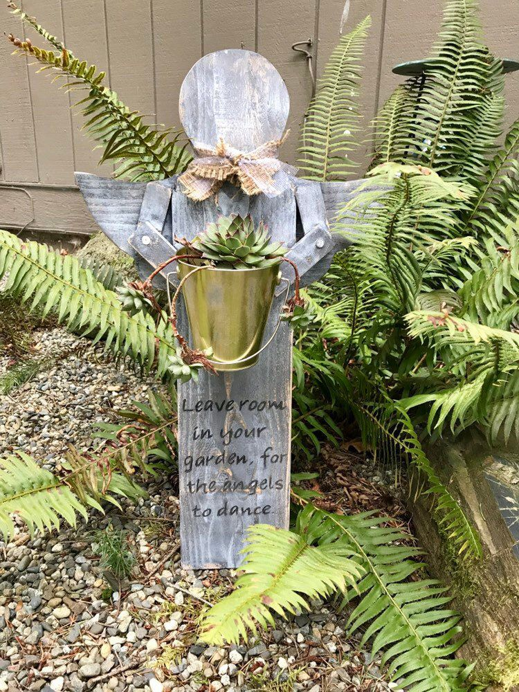 Wooden Garden Angel With Metal Bucket