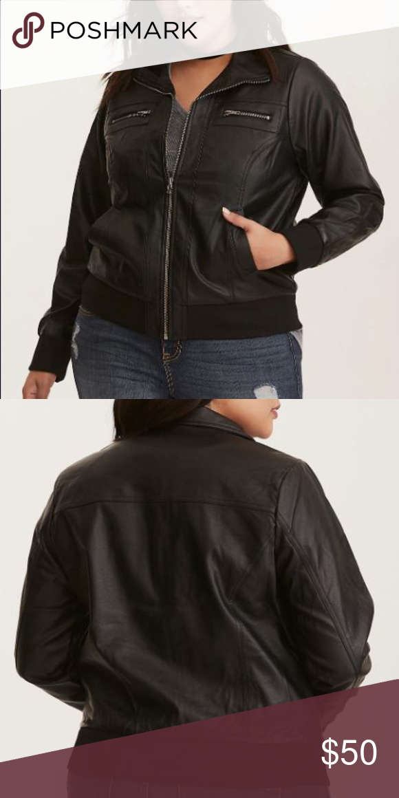 a7d9aebe3ef NWT Torrid Faux Leather Bomber Jacket Your jacket collection could use a  bit of attitude to