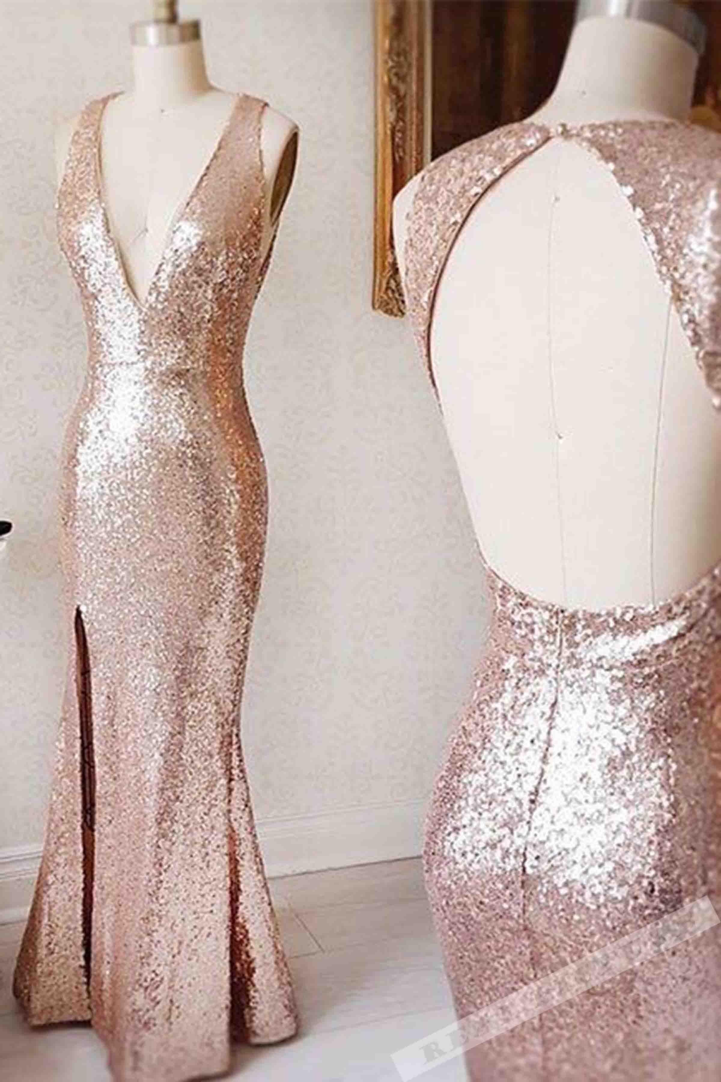 Champagne sequins vneck open back slit long dressevening dresses
