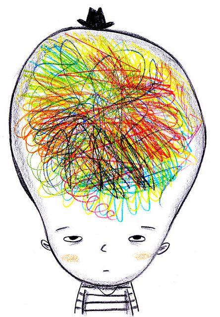 Messy brain | Brain illustration, Brain art, Art