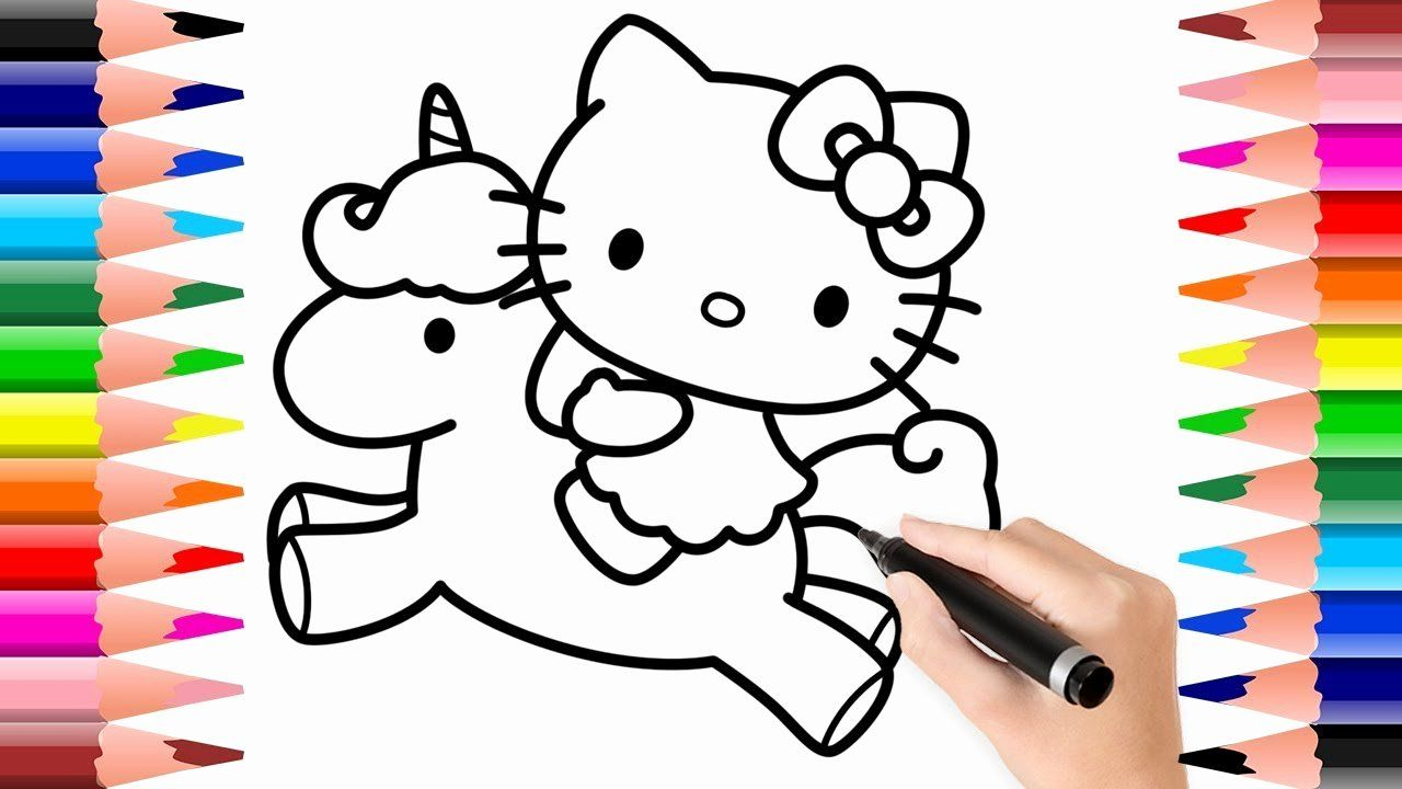 Cat Coloring Pages For Preschoolers Unique How To Draw And Colour Hello Kitty With Unicorn Colouring Pages For Kids