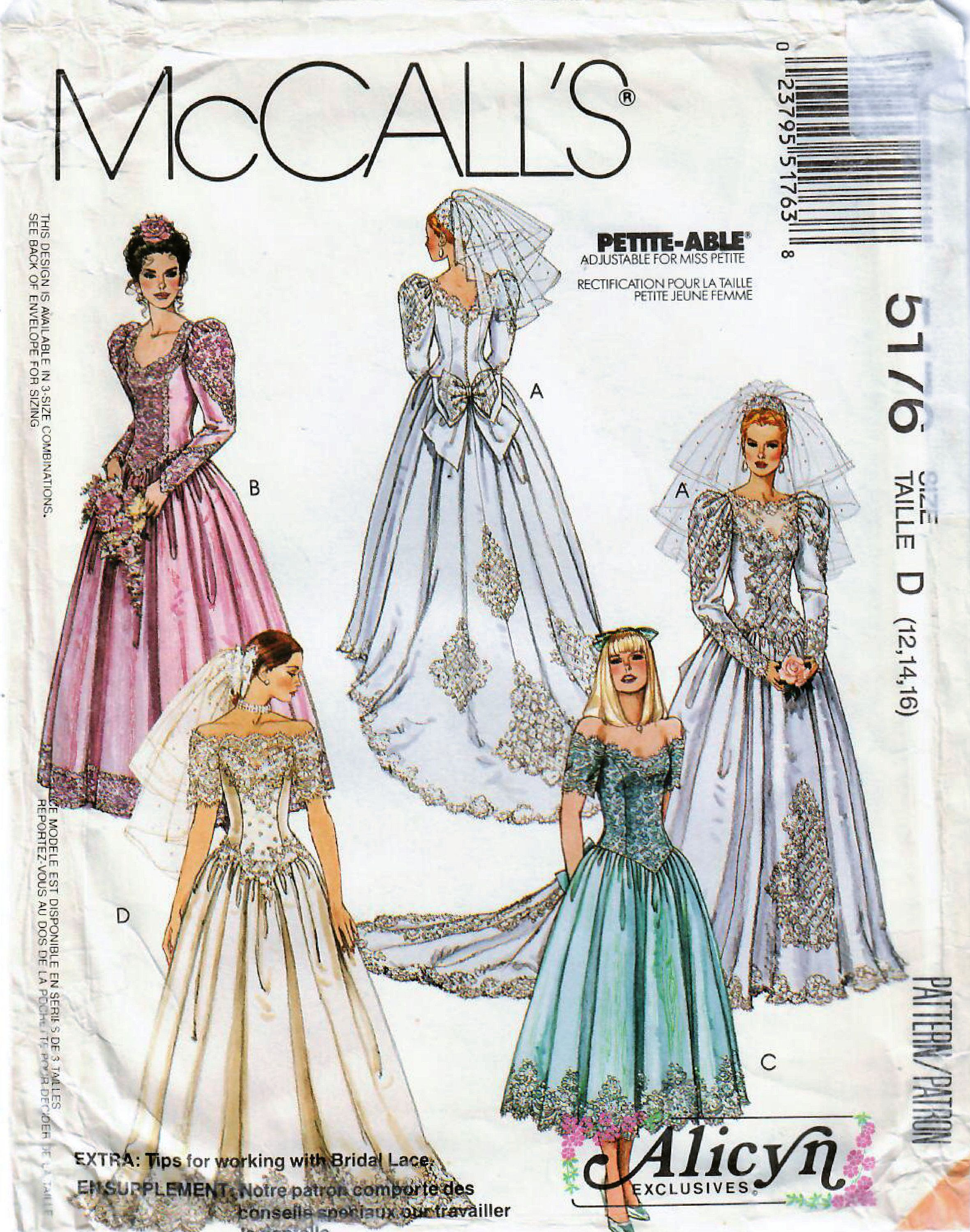 1990s Mccall S 5176 Vintage Sewing Pattern Misses Wedding Etsy Bridesmaid Dress Sewing Patterns Simplicity Wedding Dress Patterns Bridal Dress Patterns [ 3000 x 2361 Pixel ]