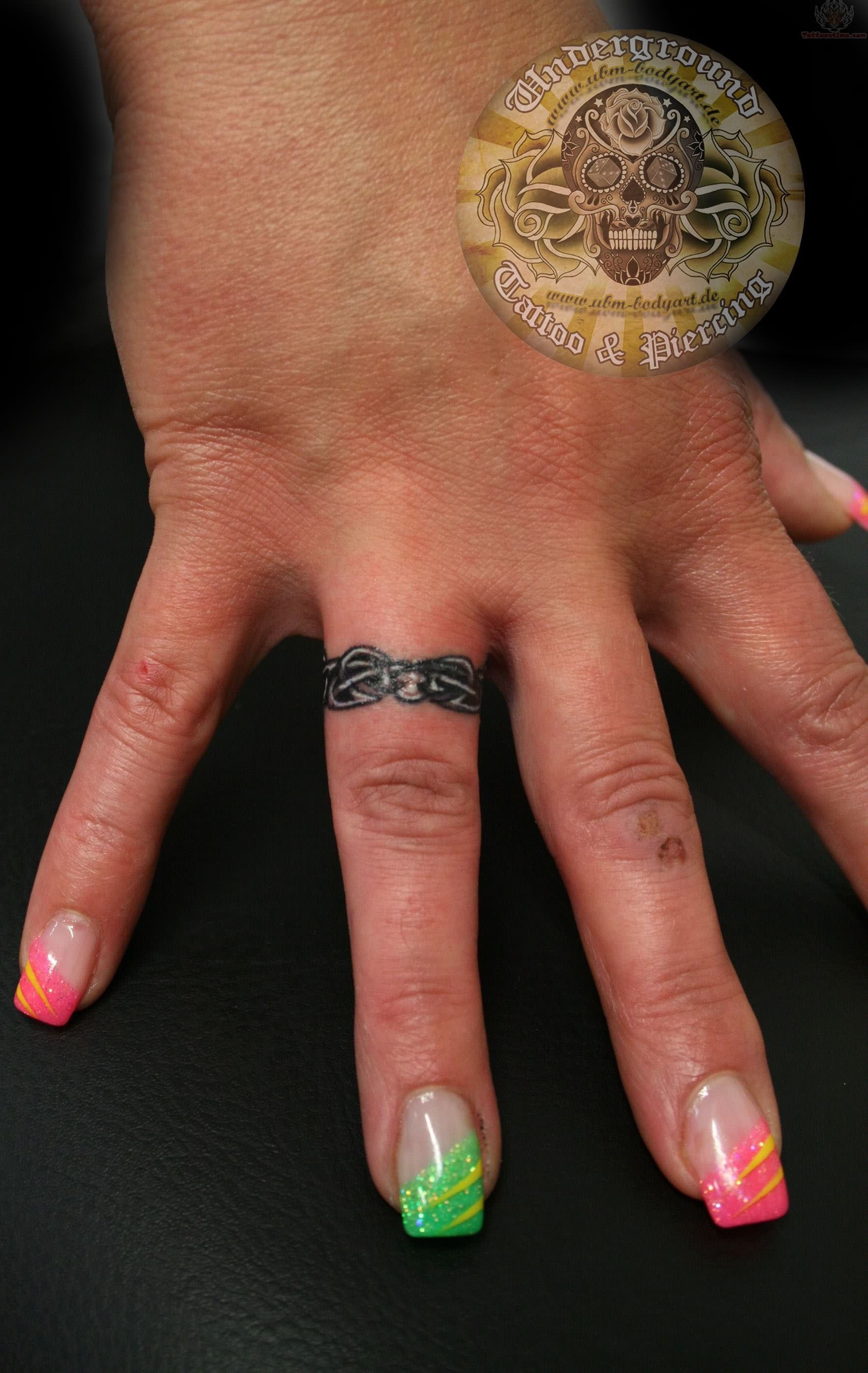 wedding ring tattoo, great idea for guys that don't like