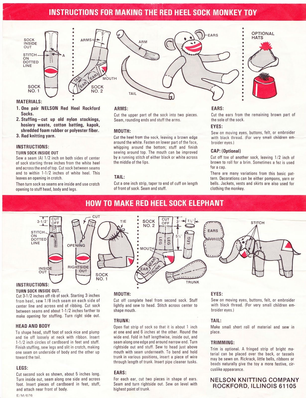 Papergreat: How to make the Red Heel Sock Monkey and Sock Elephant ...