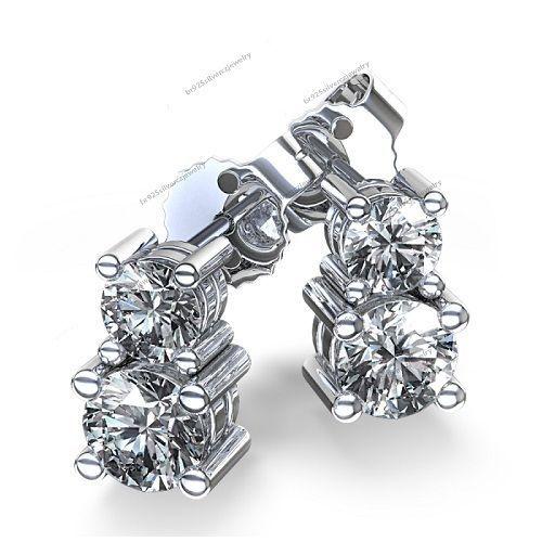 60ct Forever Us Two Stone Diamond Studs Women S Earrings 14k White Gold Br925silverczjewelry