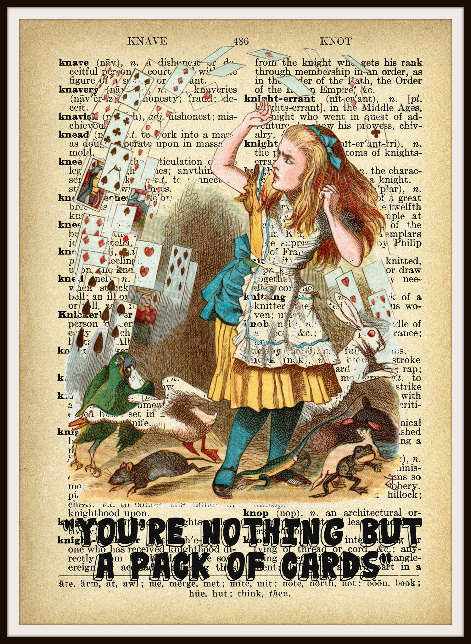 Alice in Wonderland Playing Cards Vintage Art Print on Ephemera ...