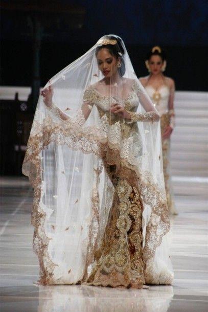 Dress Gold Wedding Bride Beautiful White Asian Kebaya Wedding Wedding Dresses Dresses