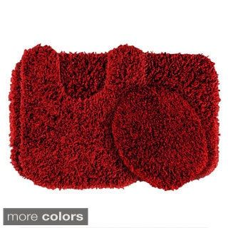Somette Quincy Super Shaggy 3 Piece Washable Bath Rug Set Red