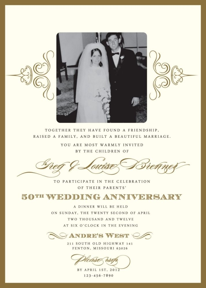 Elegant Wedding Invitations For A 50th Wedding Anniversary | 50th Wedding  Anniversary Invitation Wording Samples Free For Your .