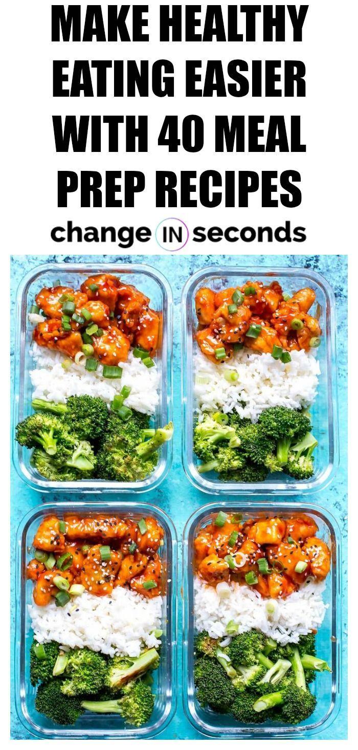 Machen Sie gesundes Essen einfacher mit 40 Mahlzeit-Vorbereitungs-Rezepten! Diese Essenszubereitung … #mealprepplans