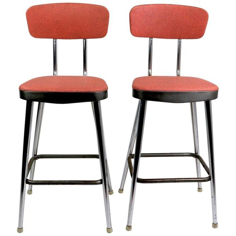 Stupendous Pair Of Cosco Stools Vinyl Counter Height American Mid Machost Co Dining Chair Design Ideas Machostcouk