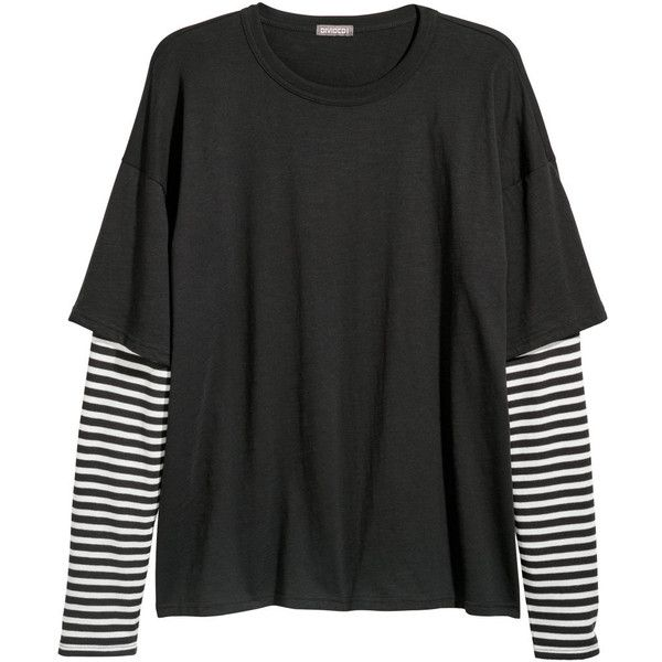 f785fd19b Double-sleeved T-shirt $19.99 ($20) ❤ liked on Polyvore featuring tops, t- shirts, clothing - ls tops, short sleeve t shirt, sleeve top, striped  cotton ...