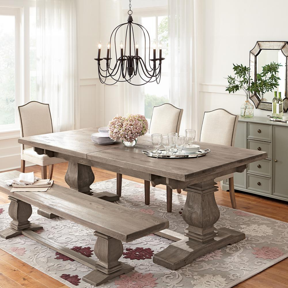Home Decorators Collection Aldridge Extendable Dining Table Nb023ag The Home Depot Chic Dining Room Farmhouse Chic Dining Room Dining Room Table