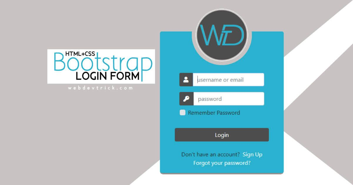 Free Bootstrap Login Form Source Code Login Form Source Code Remember Password