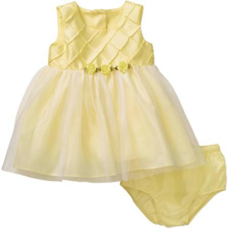 fcc6056309 George Newborn Baby Girl Easter or Special Occasion Yellow Dress Tuck  Dress