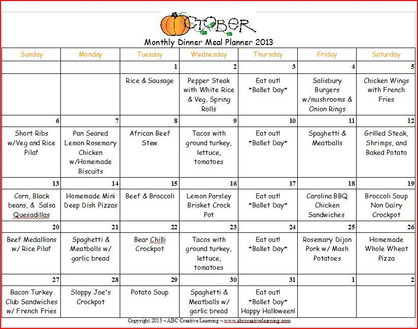 October 2013 Dinner Monthly Menu Planner Monthly menu, Menu