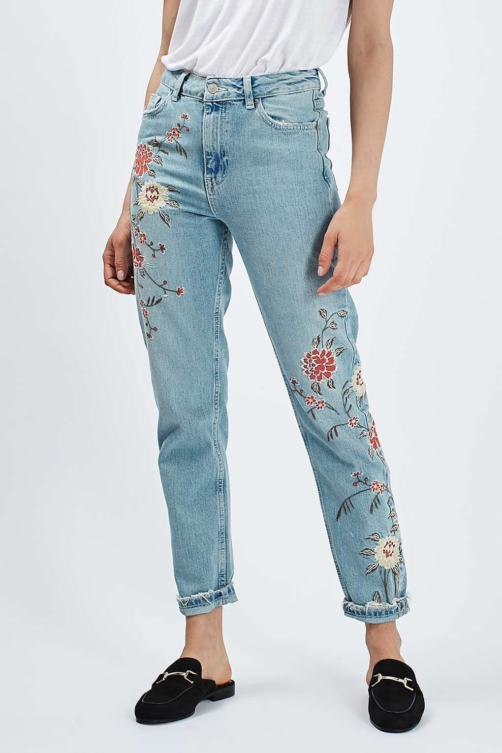 Moto Floral Embroidered Mom Jeans