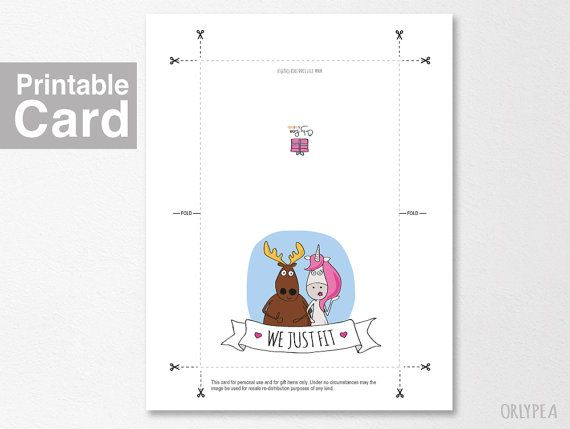 Funny Love Card. Anniversary Card - We Just Fit. Printable Card ...