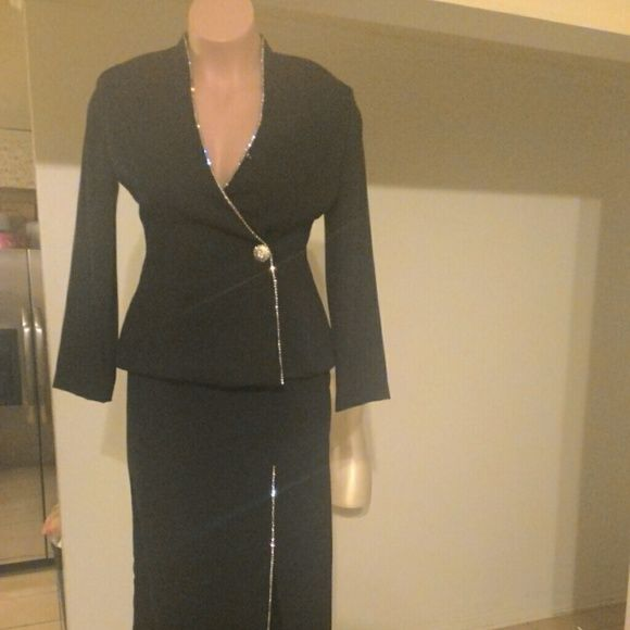 Black Skirt Suit with rhinestone linings Diamond skirt suit with diamond lining Skirts