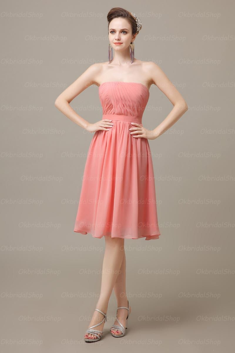 blush pink bridesmaid dress, short bridesmaid dress, cheap ...