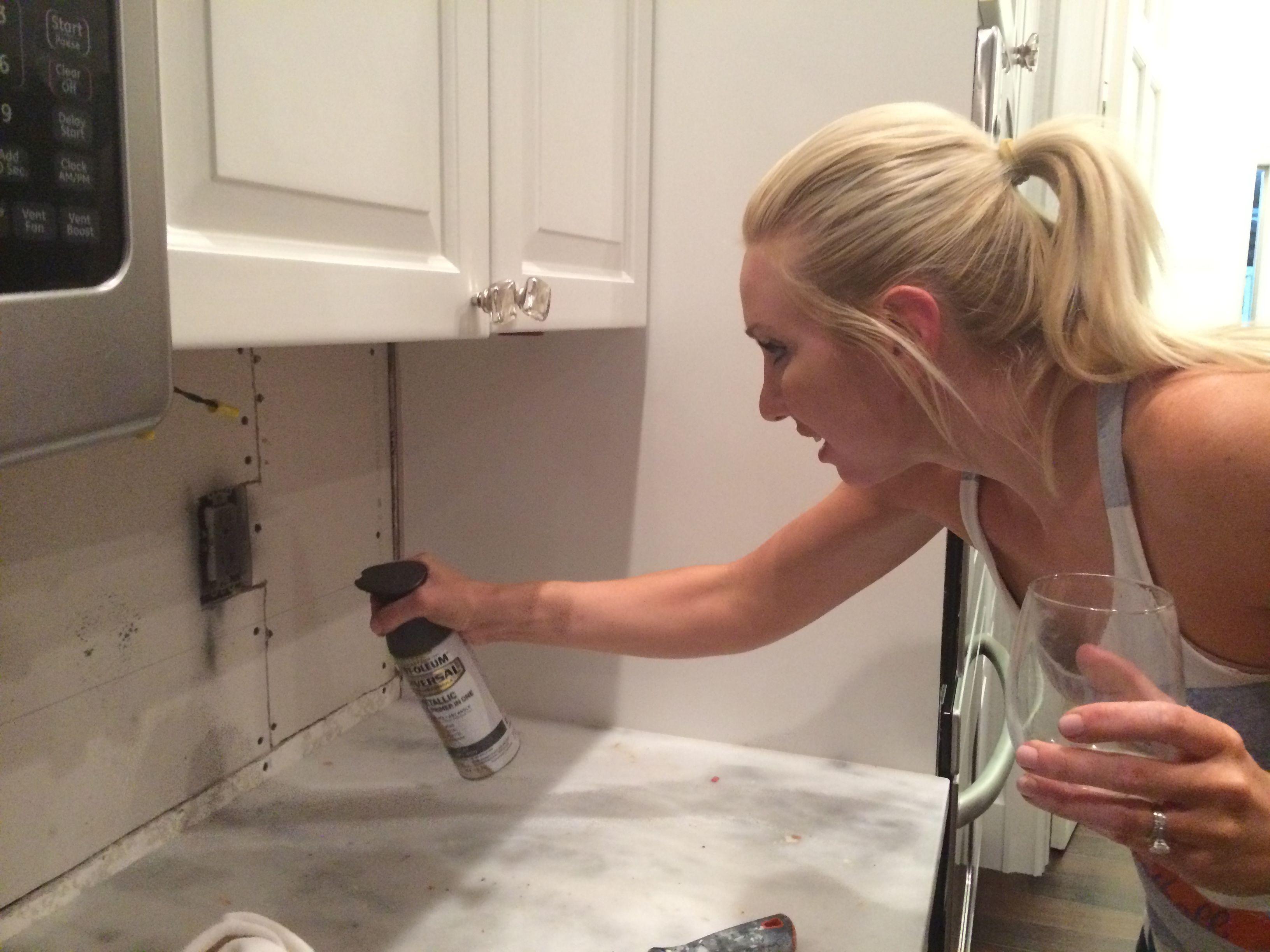 painting the outlets | Mirror backsplash, Backsplash ...