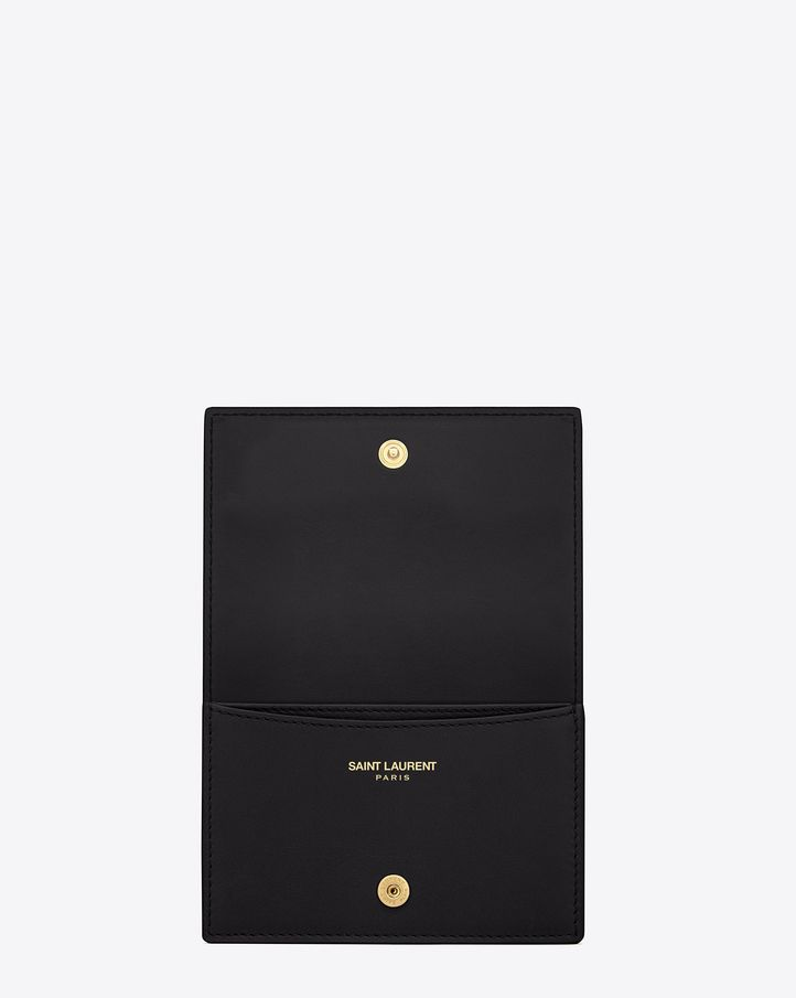 Saint Laurent, CLASSIC TOILE MONOGRAM Business Card CASE IN BLACK ...