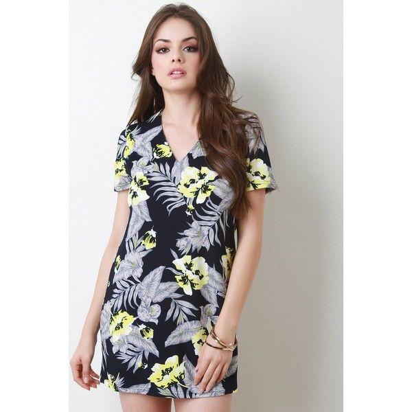 Tropical Print Short Sleeve Shift Dress via Polyvore featuring dresses, short sleeve shift dress, short-sleeve shift dresses, short sleeve dress, shift dress and short-sleeve dresses