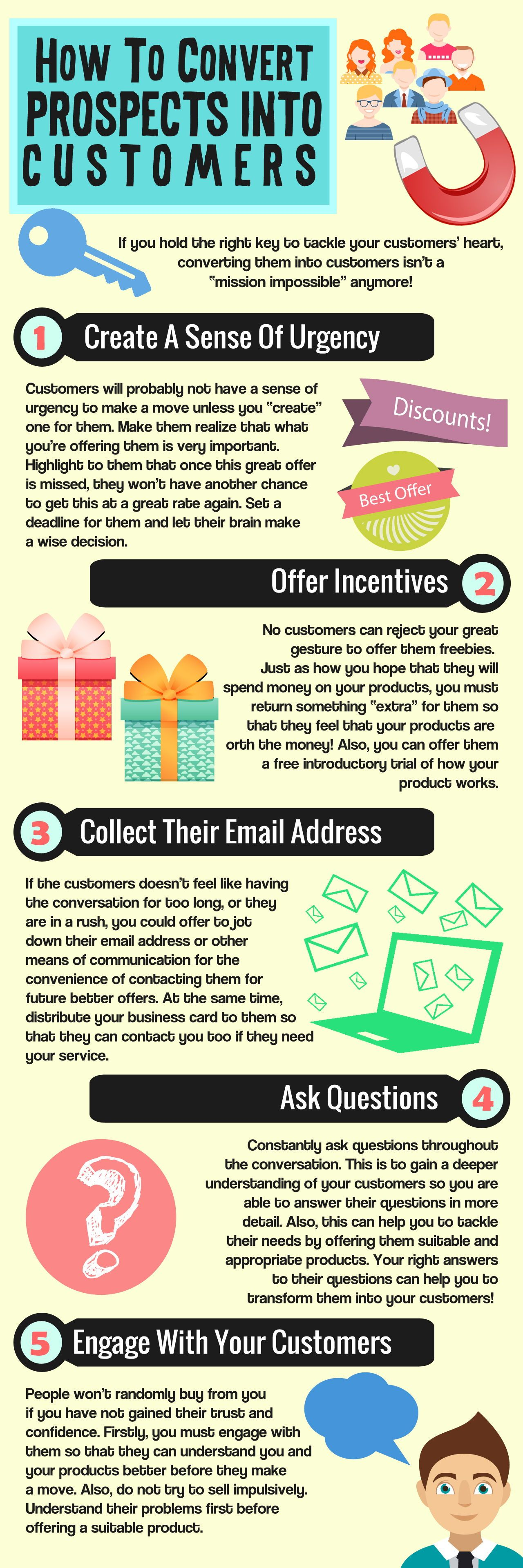 How to convert prospects into customers infographic