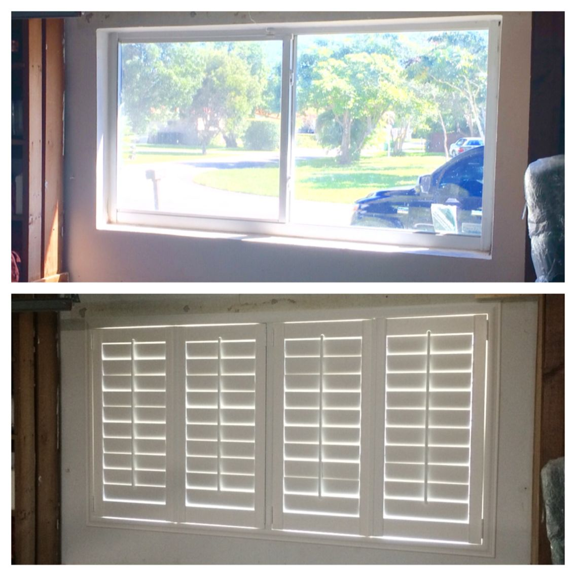 Before And After Garage Window In Plantation Shutters