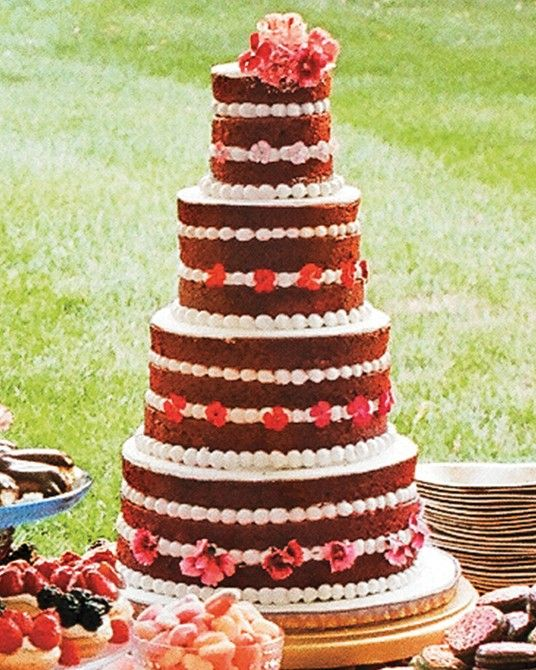 A four-tier naked red velvet cake with cream cheese frosting completed an impressive dessert spread by