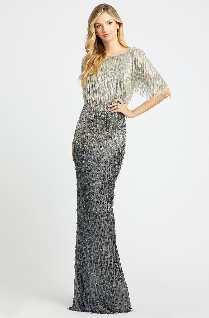 Lyst - Mac Duggal 4247d Plunging V-neck Beaded Sheath Gown