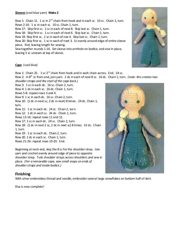 Frozen. Elsa crocheted doll pattern … | Crochet Patterns | Pinte…
