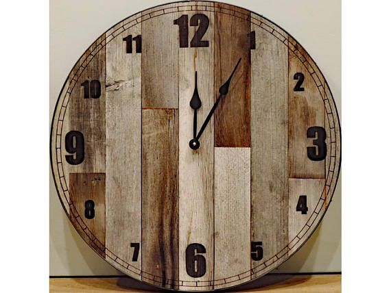 24 Inch Large Rustic Wooden Country Wall Clock Big Barn Wood Decorative Shabby Chic Farmhouse Kitchen Living Room Decor Brown And Grey In 2020 Rustic Wall Clocks Barn Wood Decor Large Rustic