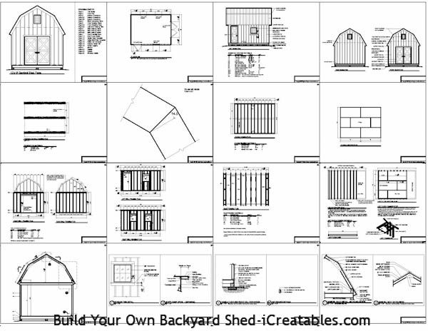 12x16 Gambrel Shed Plans Back Yard Shed Plans 12x16
