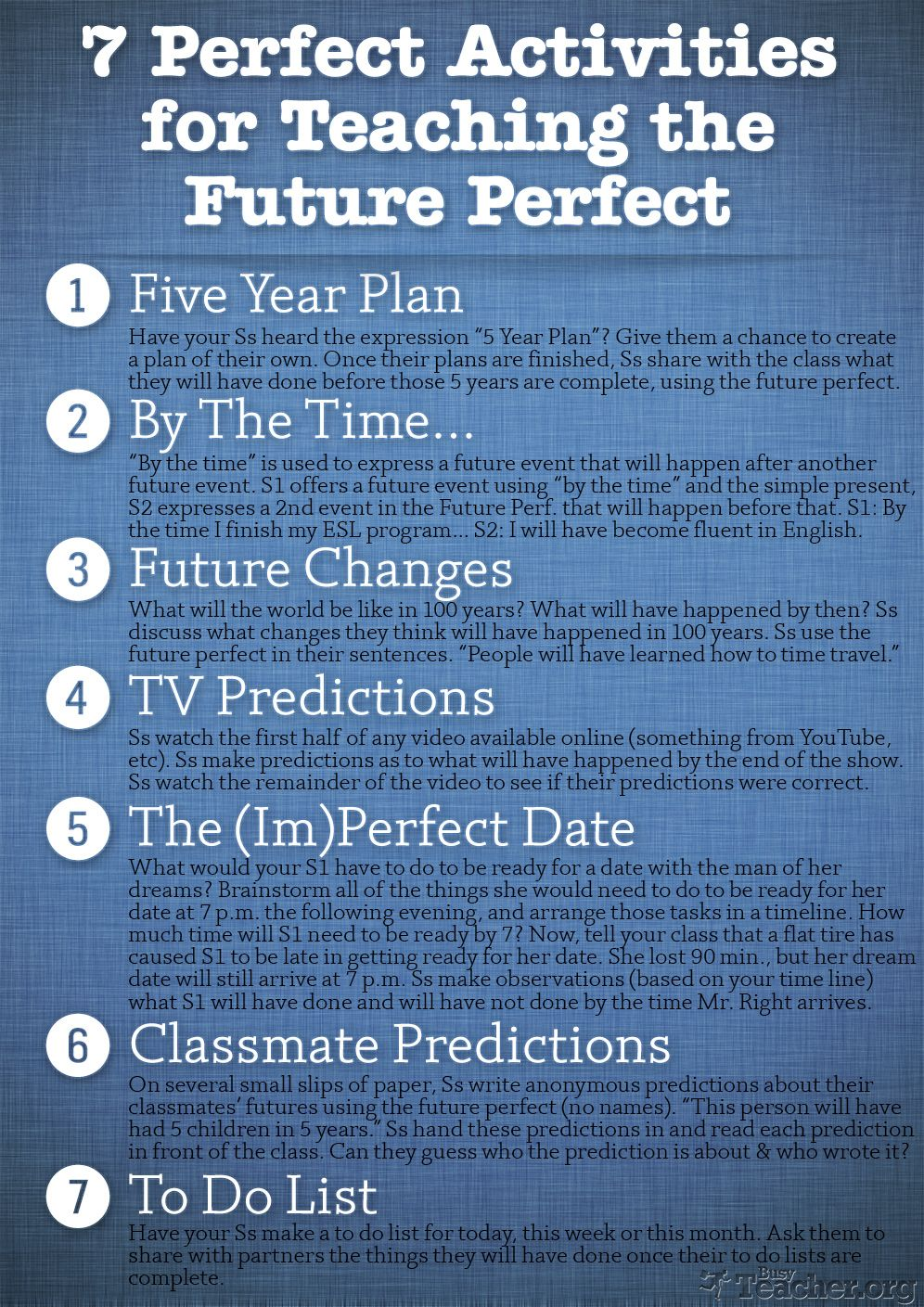 7 Great Activities for Teaching the Future Perfect. | Spanish ...